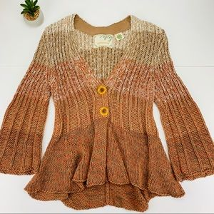 Sparrow Sea Change Ombré Knit Peplum Cardigan